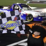 CONCORD, NORTH CAROLINA - MAY 26: Chase Elliott, driver of the #24 iRacing Chevrolet, celebrates after winning the NASCAR Gander Outdoors Trucks Series North Carolina Education Lottery 200 at Charlotte Motor Speedway on May 26, 2020 in Concord, North Carolina. (Photo by Jared C. Tilton/Getty Images) | Getty Images