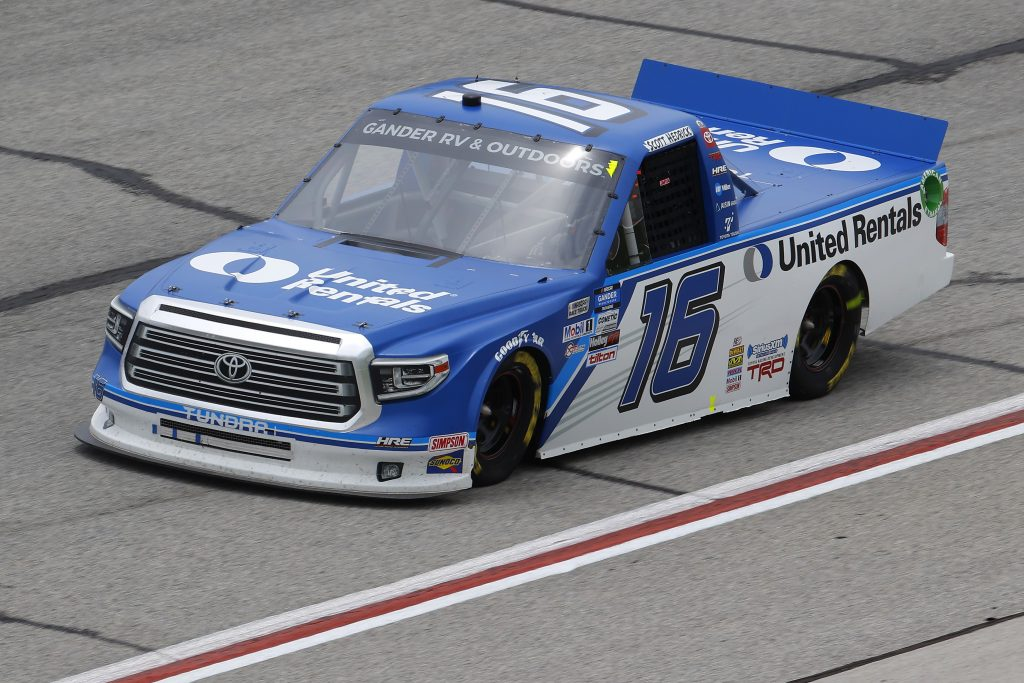 HAMPTON, GEORGIA - JUNE 06: Austin Hill, driver of the #16 United Rentals Toyota, races during the NASCAR Gander Outdoors Truck Series Vet Tix Camping World 200 at Atlanta Motor Speedway on June 06, 2020 in Hampton, Georgia. (Photo by Chris Graythen/Getty Images) | Getty Images