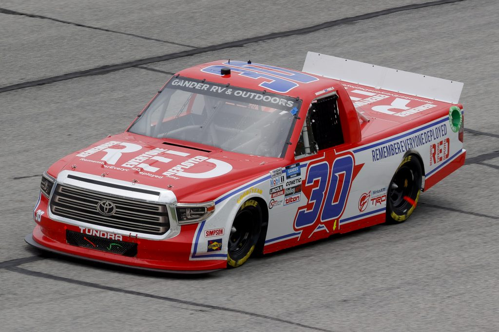 HAMPTON, GEORGIA - JUNE 06: Brennan Poole, driver of the #30 Remember Everyone Deployed Toyota, drives during the NASCAR Gander Outdoors Truck Series Vet Tix Camping World 200 at Atlanta Motor Speedway on June 06, 2020 in Hampton, Georgia. (Photo by Chris Graythen/Getty Images) | Getty Images
