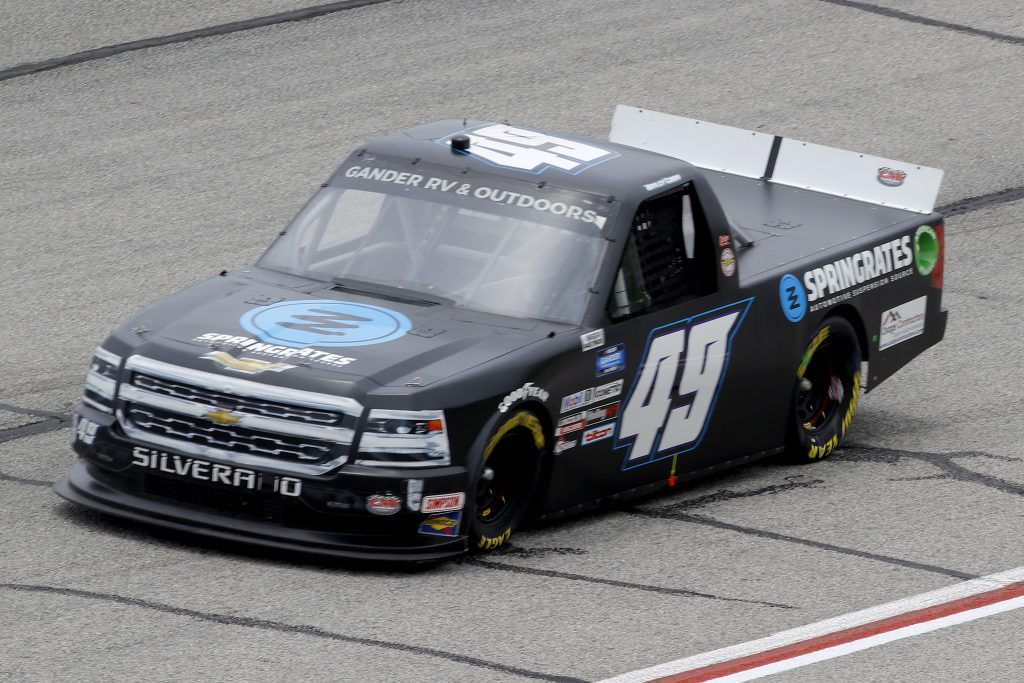HAMPTON, GEORGIA - JUNE 06: Bayley Currey Springrates Automotive Suspension Source, driver of the #49 CMI Motorsports, drives during the NASCAR Gander Outdoors Truck Series Vet Tix Camping World 200 at Atlanta Motor Speedway on June 06, 2020 in Hampton, Georgia. (Photo by Chris Graythen/Getty Images) | Getty Images