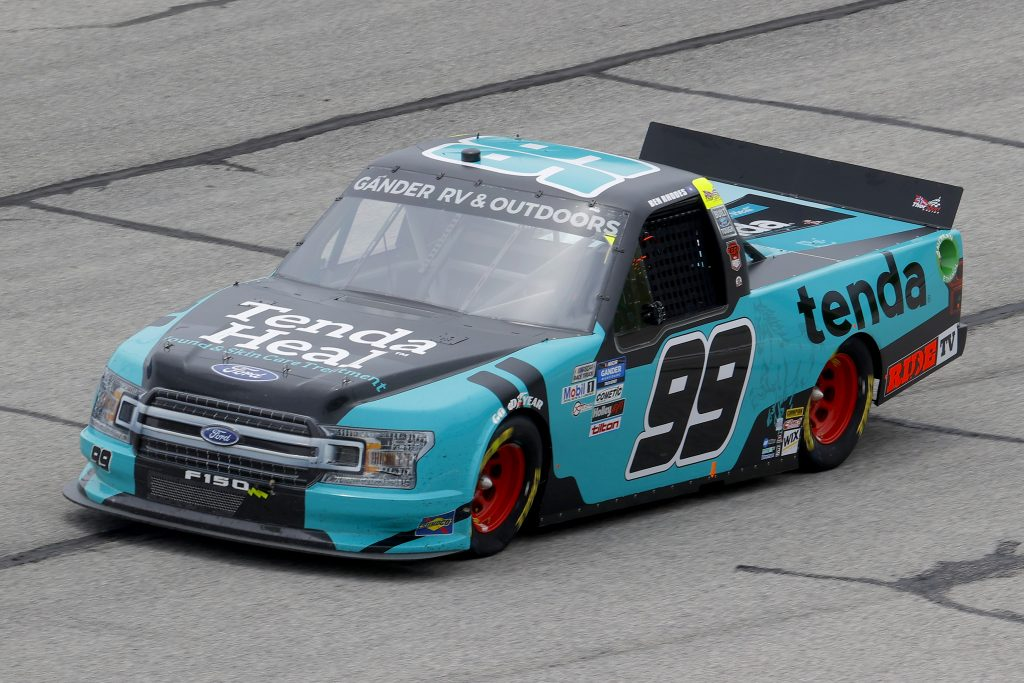 HAMPTON, GEORGIA - JUNE 06: Ben Rhodes, driver of the #99 Tenda Heal Ford, drives during the NASCAR Gander Outdoors Truck Series Vet Tix Camping World 200 at Atlanta Motor Speedway on June 06, 2020 in Hampton, Georgia. (Photo by Chris Graythen/Getty Images) | Getty Images