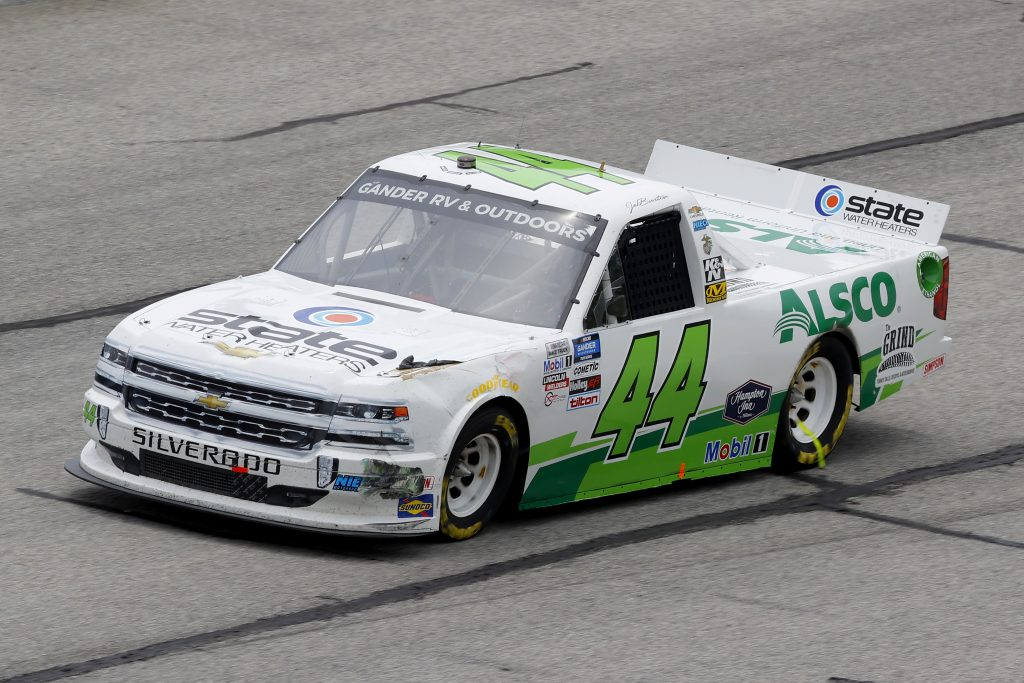 HAMPTON, GEORGIA - JUNE 06: Jeb Burton, driver of the #44 State Water Heaters/Alsco Chevrolet, drives during the NASCAR Gander Outdoors Truck Series Vet Tix Camping World 200 at Atlanta Motor Speedway on June 06, 2020 in Hampton, Georgia. (Photo by Chris Graythen/Getty Images) | Getty Images