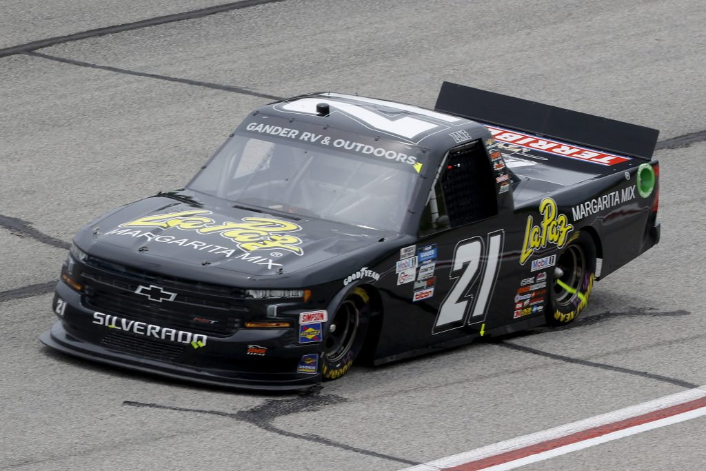 HAMPTON, GEORGIA - JUNE 06: Zane Smith, driver of the #21 LaPaz Margarita Mix Chevrolet, drives during the NASCAR Gander Outdoors Truck Series Vet Tix Camping World 200 at Atlanta Motor Speedway on June 06, 2020 in Hampton, Georgia. (Photo by Chris Graythen/Getty Images) | Getty Images
