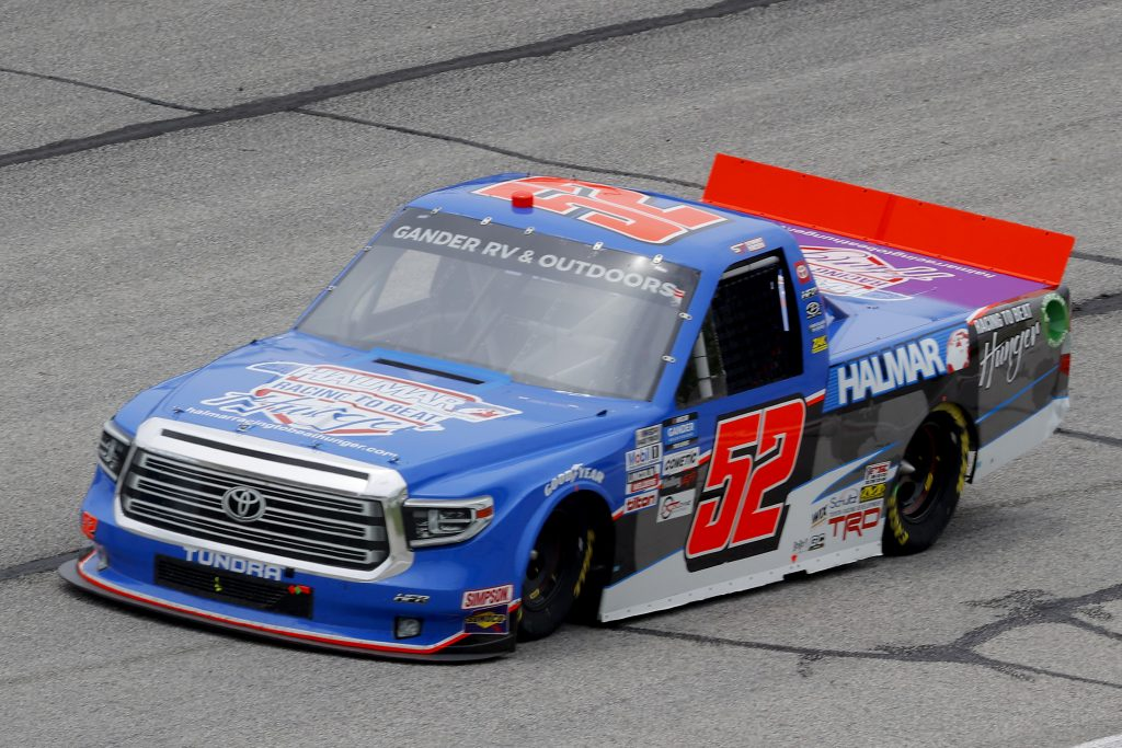 HAMPTON, GEORGIA - JUNE 06: Stewart Friesen, driver of the #52 Halmar Racing to Beat Hunger Toyota, drives during the NASCAR Gander Outdoors Truck Series Vet Tix Camping World 200 at Atlanta Motor Speedway on June 06, 2020 in Hampton, Georgia. (Photo by Chris Graythen/Getty Images) | Getty Images