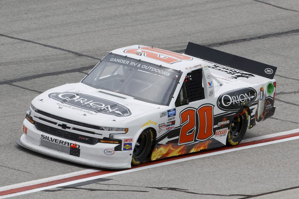 HAMPTON, GEORGIA - JUNE 06: Spencer Boyd, driver of the #20 Orion Cooker Chevrolet, drives during the NASCAR Gander Outdoors Truck Series Vet Tix Camping World 200 at Atlanta Motor Speedway on June 06, 2020 in Hampton, Georgia. (Photo by Chris Graythen/Getty Images) | Getty Images