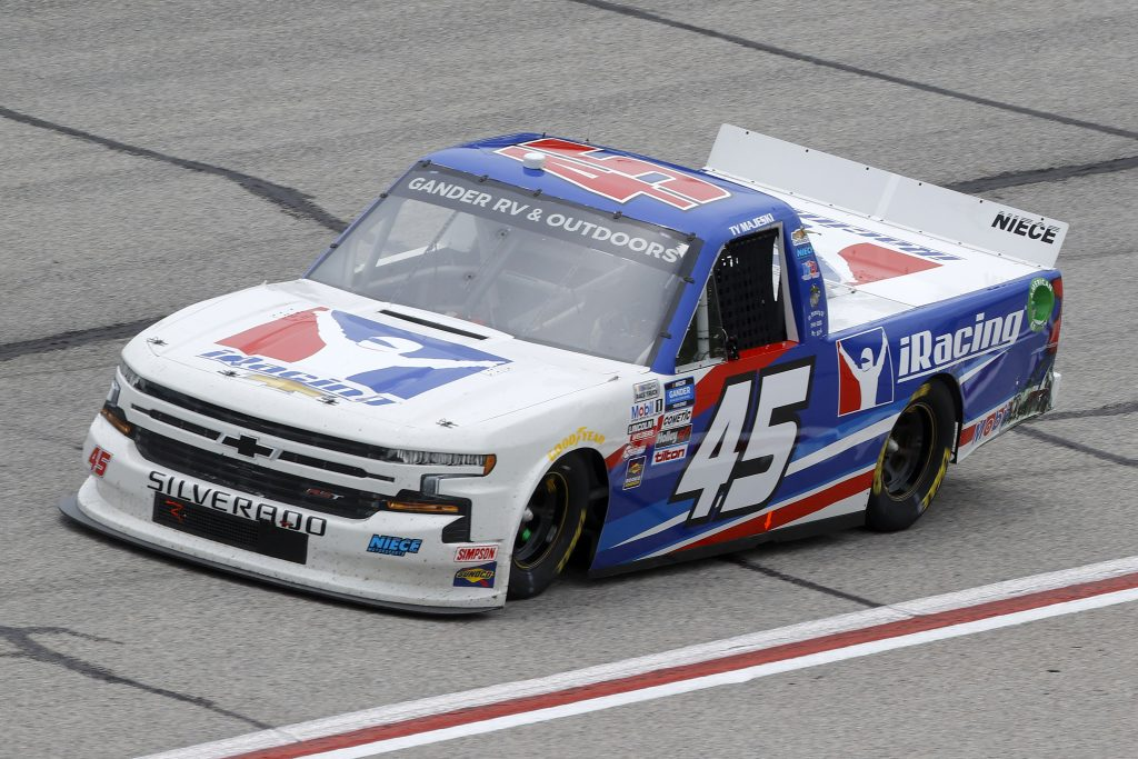 HAMPTON, GEORGIA - JUNE 06: Ty Majeski, driver of the #45 iRacing Chevrolet, drives during the NASCAR Gander Outdoors Truck Series Vet Tix Camping World 200 at Atlanta Motor Speedway on June 06, 2020 in Hampton, Georgia. (Photo by Chris Graythen/Getty Images) | Getty Images