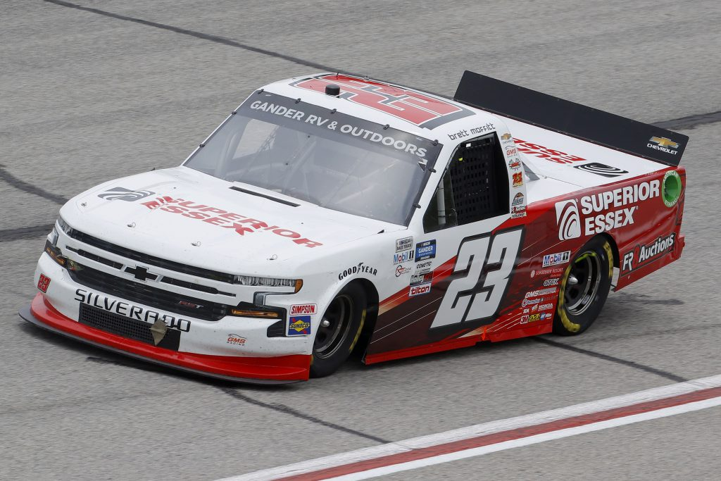 HAMPTON, GEORGIA - JUNE 06: Brett Moffitt, driver of the #23 Superior Essex Chevrolet, drives during the NASCAR Gander Outdoors Truck Series Vet Tix Camping World 200 at Atlanta Motor Speedway on June 06, 2020 in Hampton, Georgia. (Photo by Chris Graythen/Getty Images) | Getty Images