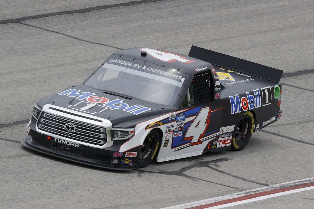 HAMPTON, GEORGIA - JUNE 06: Raphael Lessard, driver of the #4 Mobil 1 Toyota, drives during the NASCAR Gander Outdoors Truck Series Vet Tix Camping World 200 at Atlanta Motor Speedway on June 06, 2020 in Hampton, Georgia. (Photo by Chris Graythen/Getty Images) | Getty Images