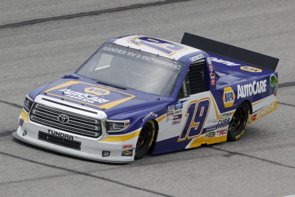 HAMPTON, GEORGIA - JUNE 06: Derek Kraus, driver of the #19 NAPA AUTOCARE Toyota, drives during the NASCAR Gander Outdoors Truck Series Vet Tix Camping World 200 at Atlanta Motor Speedway on June 06, 2020 in Hampton, Georgia. (Photo by Chris Graythen/Getty Images) | Getty Images