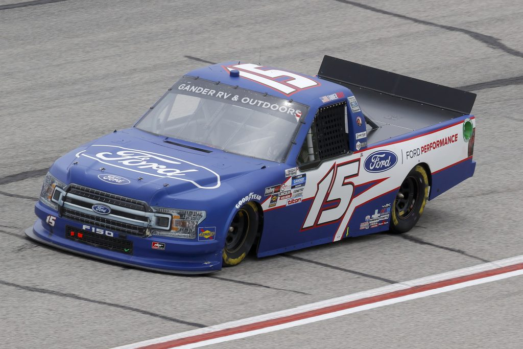 HAMPTON, GEORGIA - JUNE 06: Tanner Gray, driver of the #15 Ford/Ford Performance Ford, drives during the NASCAR Gander Outdoors Truck Series Vet Tix Camping World 200 at Atlanta Motor Speedway on June 06, 2020 in Hampton, Georgia. (Photo by Chris Graythen/Getty Images) | Getty Images