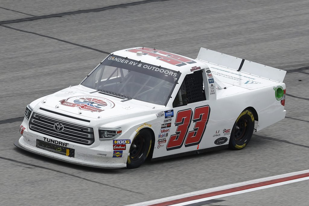 HAMPTON, GEORGIA - JUNE 06: Gray Gaulding, driver of the #33 Toyota, drives during the NASCAR Gander Outdoors Truck Series Vet Tix Camping World 200 at Atlanta Motor Speedway on June 06, 2020 in Hampton, Georgia. (Photo by Chris Graythen/Getty Images) | Getty Images