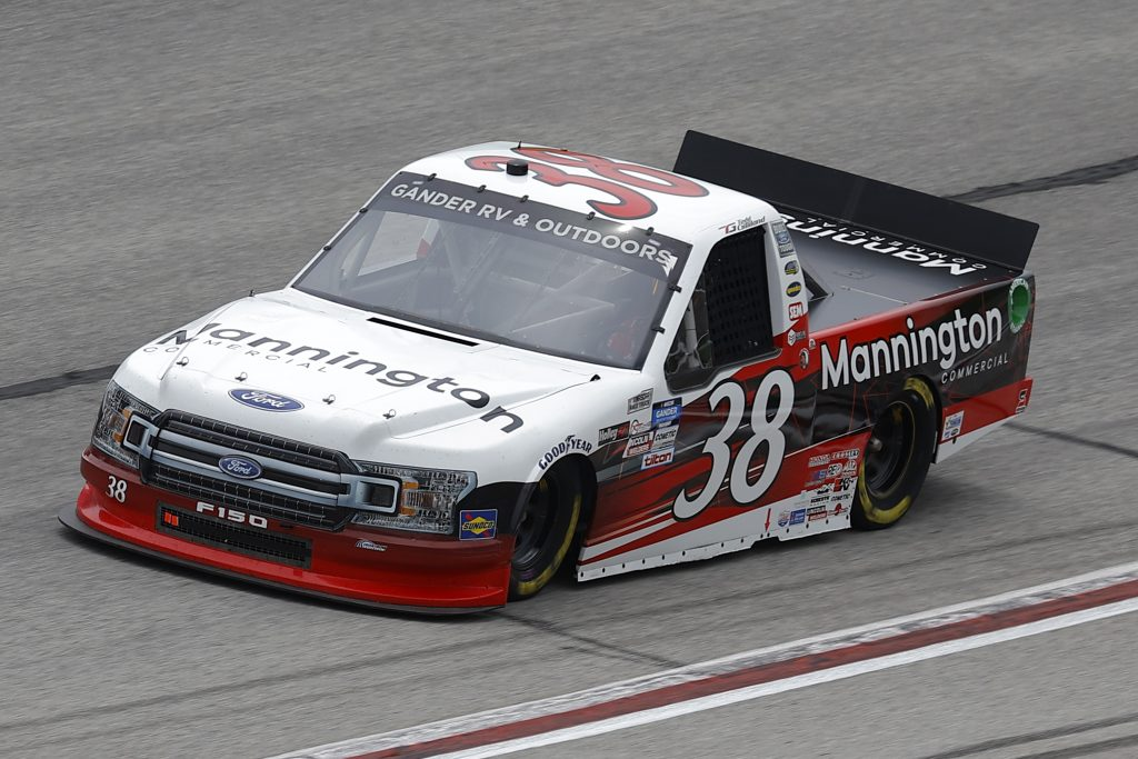 HAMPTON, GEORGIA - JUNE 06: Todd Gilliland, driver of the #38 Mannington Commercial Ford, drives during the NASCAR Gander Outdoors Truck Series Vet Tix Camping World 200 at Atlanta Motor Speedway on June 06, 2020 in Hampton, Georgia. (Photo by Chris Graythen/Getty Images) | Getty Images
