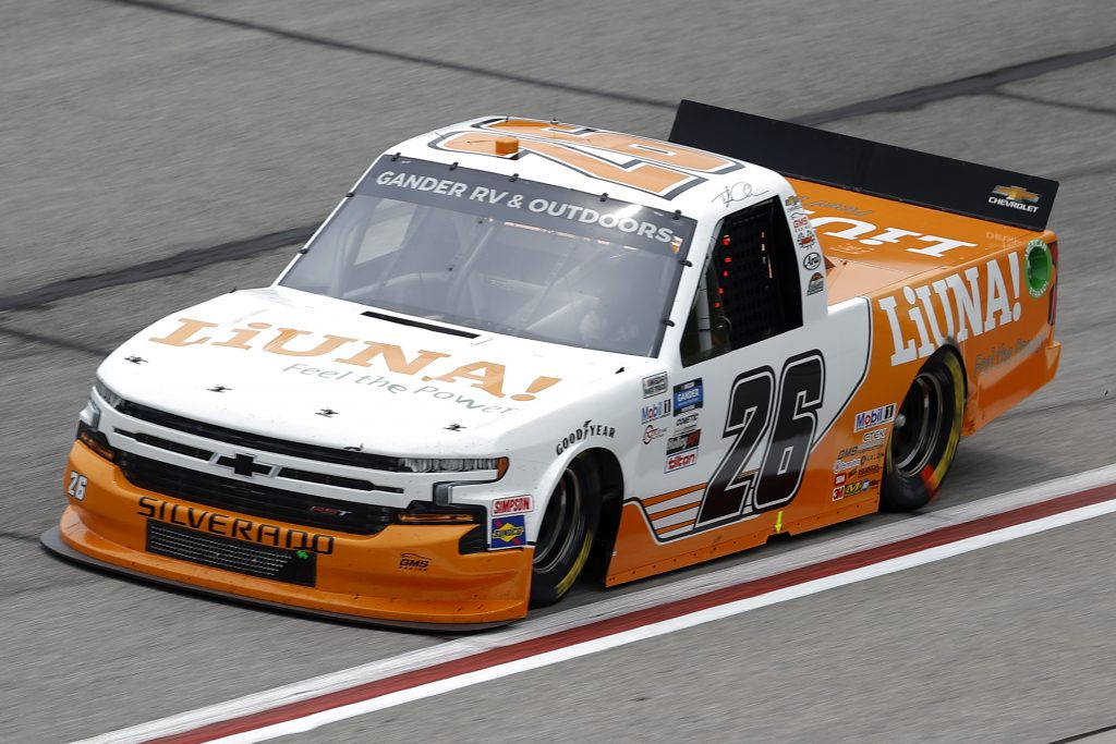 HAMPTON, GEORGIA - JUNE 06: Tyler Ankrum, driver of the #26 Liuna! Chevrolet, drives during the NASCAR Gander Outdoors Truck Series Vet Tix Camping World 200 at Atlanta Motor Speedway on June 06, 2020 in Hampton, Georgia. (Photo by Chris Graythen/Getty Images) | Getty Images