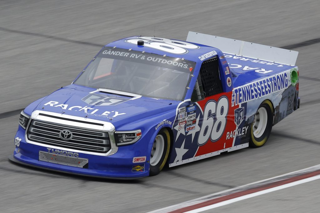 HAMPTON, GEORGIA - JUNE 06: Clay Greenfield, driver of the #68 Rackley Roofing Toyota, drives during the NASCAR Gander Outdoors Truck Series Vet Tix Camping World 200 at Atlanta Motor Speedway on June 06, 2020 in Hampton, Georgia. (Photo by Chris Graythen/Getty Images) | Getty Images