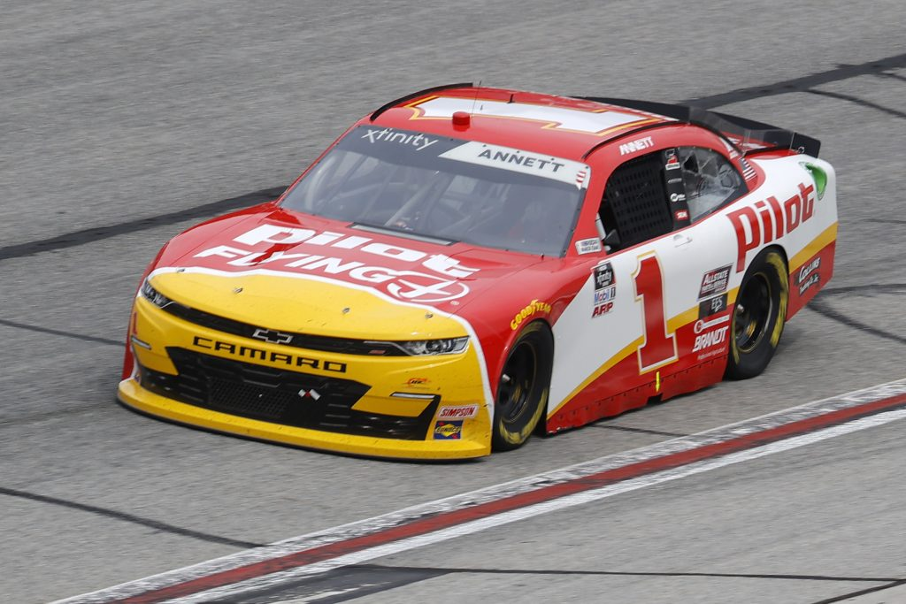 HAMPTON, GEORGIA - JUNE 06: Michael Annett, driver of the #1 Flexfit 110 Chevrolet, drives during the NASCAR Xfinity Series EchoPark 250 at Atlanta Motor Speedway on June 06, 2020 in Hampton, Georgia. (Photo by Chris Graythen/Getty Images) | Getty Images