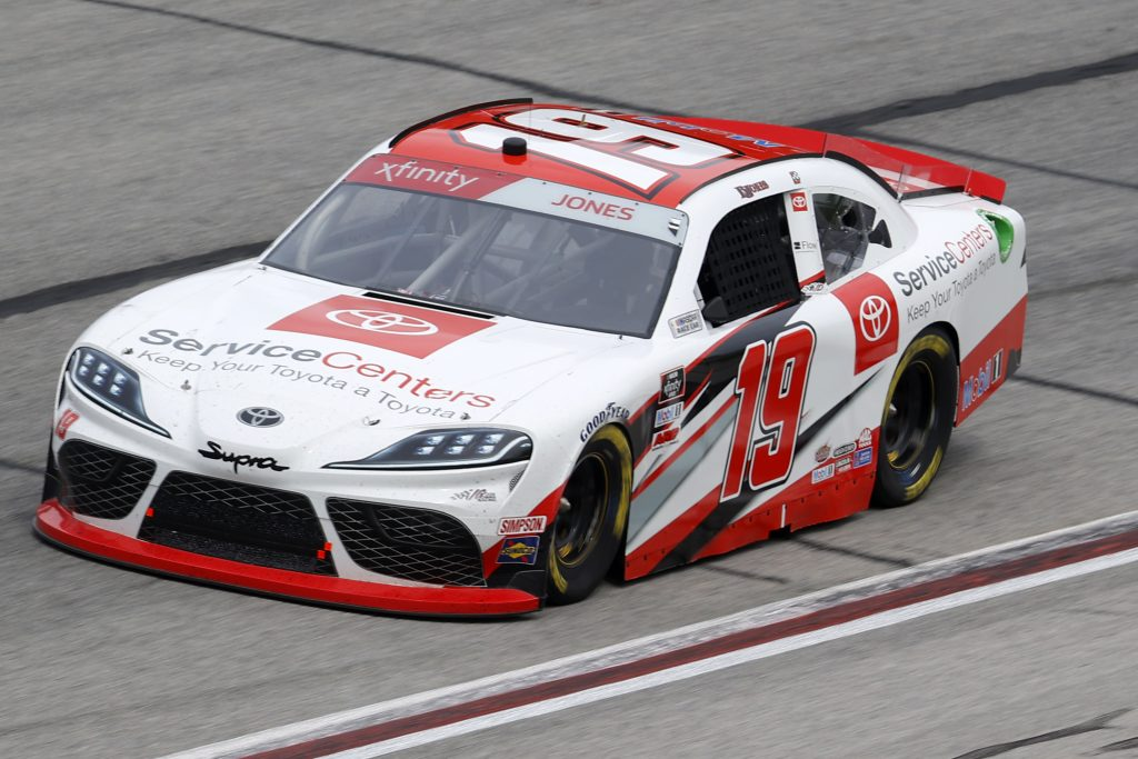 HAMPTON, GEORGIA - JUNE 06: Brandon Jones, driver of the #19 Toyota Service Centers Toyota, drives during the NASCAR Xfinity Series EchoPark 250 at Atlanta Motor Speedway on June 06, 2020 in Hampton, Georgia. (Photo by Chris Graythen/Getty Images) | Getty Images