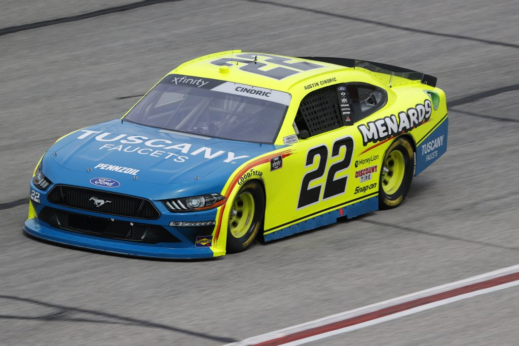 HAMPTON, GEORGIA - JUNE 06: Austin Cindric, driver of the #22 Menards/Tuscany Faucets Ford, drives during the NASCAR Xfinity Series EchoPark 250 at Atlanta Motor Speedway on June 06, 2020 in Hampton, Georgia. (Photo by Chris Graythen/Getty Images) | Getty Images