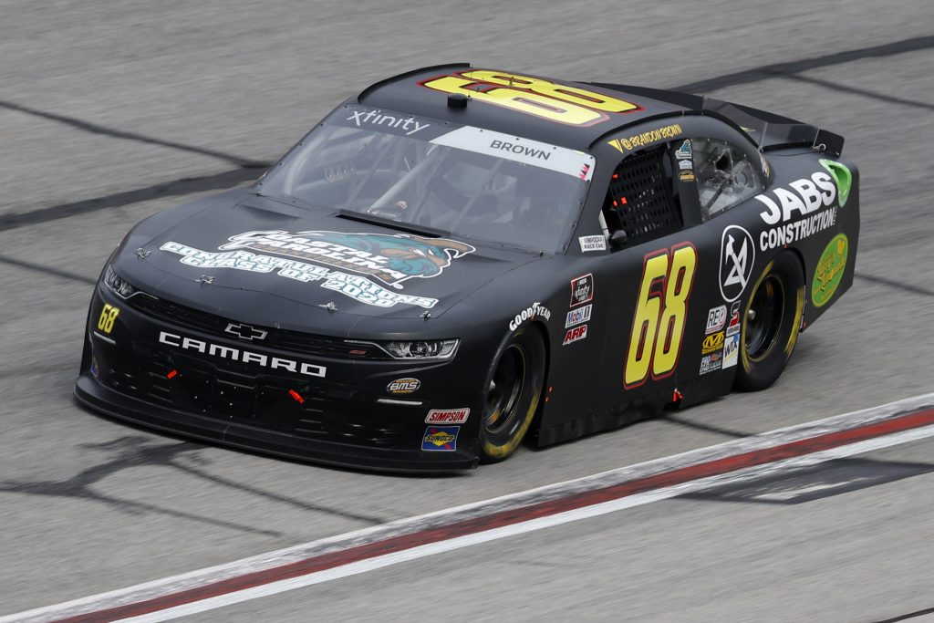 HAMPTON, GEORGIA - JUNE 06: Brandon Brown, driver of the #68 Jabs Construction Chevrolet, drives during the NASCAR Xfinity Series EchoPark 250 at Atlanta Motor Speedway on June 06, 2020 in Hampton, Georgia. (Photo by Chris Graythen/Getty Images) | Getty Images