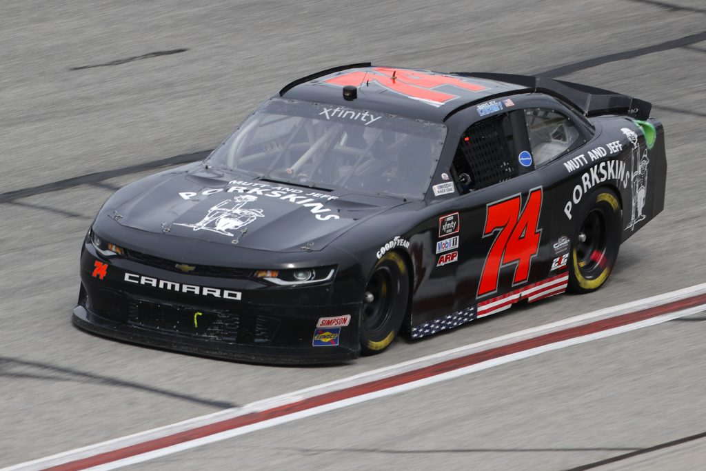 HAMPTON, GEORGIA - JUNE 06: Bayley Currey, driver of the #74 Mutt and Jeff Porkskins Inc. Chevrolet, drives during the NASCAR Xfinity Series EchoPark 250 at Atlanta Motor Speedway on June 06, 2020 in Hampton, Georgia. (Photo by Chris Graythen/Getty Images) | Getty Images