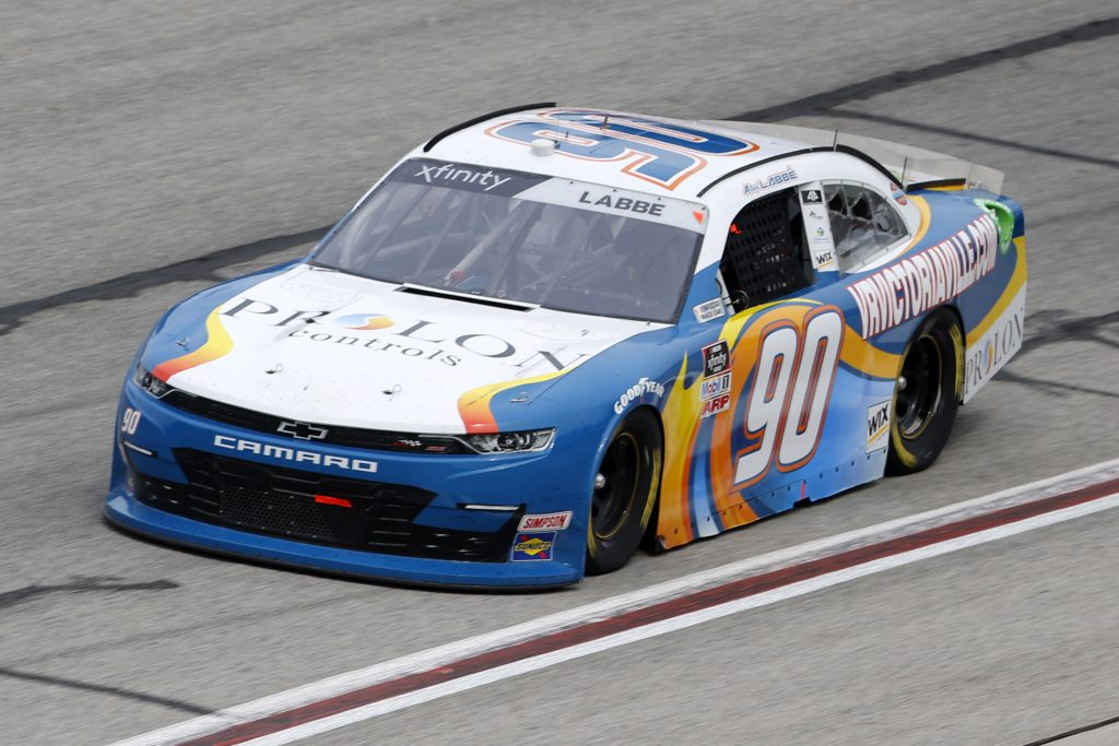 HAMPTON, GEORGIA - JUNE 06: Alex Labbe, driver of the #90 Larue Snowblowers Chevrolet, drives during the NASCAR Xfinity Series EchoPark 250 at Atlanta Motor Speedway on June 06, 2020 in Hampton, Georgia. (Photo by Chris Graythen/Getty Images) | Getty Images
