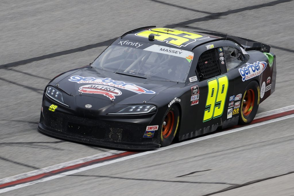 HAMPTON, GEORGIA - JUNE 06: Mason Massey, driver of the #99 Gerber Collision & Glass Toyota, drives during the NASCAR Xfinity Series EchoPark 250 at Atlanta Motor Speedway on June 06, 2020 in Hampton, Georgia. (Photo by Chris Graythen/Getty Images) | Getty Images