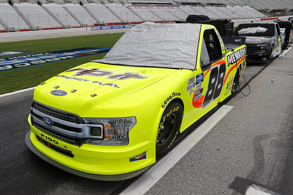 HAMPTON, GEORGIA - JUNE 06: The #88 Rip It/Menards Ford,  driven by Matt Crafton, waits on the grid prior to the NASCAR Gander Outdoors Truck Series Vet Tix Camping World 200 at Atlanta Motor Speedway on June 06, 2020 in Hampton, Georgia. (Photo by Chris Graythen/Getty Images) | Getty Images