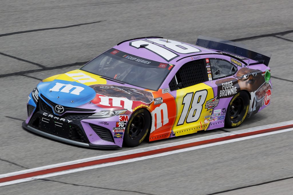 HAMPTON, GEORGIA - JUNE 07: Kyle Busch, driver of the #18 M&M's Fudge Brownie Toyota, drives during the NASCAR Cup Series Folds of Honor QuikTrip 500 at Atlanta Motor Speedway on June 07, 2020 in Hampton, Georgia. (Photo by Chris Graythen/Getty Images) | Getty Images