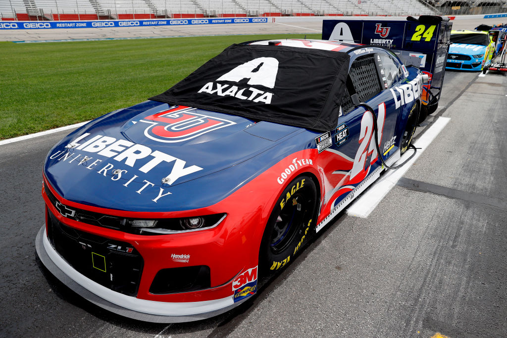 HAMPTON, GEORGIA - JUNE 07:  The #24 Liberty University Chevrolet, driven by William Byron, sits on the grid prior to the NASCAR Cup Series Folds of Honor QuikTrip 500 at Atlanta Motor Speedway on June 07, 2020 in Hampton, Georgia. (Photo by Chris Graythen/Getty Images) | Getty Images