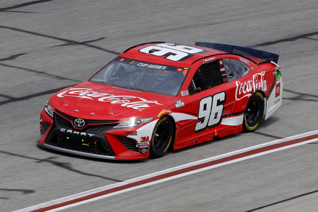 HAMPTON, GEORGIA - JUNE 07: Daniel Suarez, driver of the #96 Coca-Cola Toyota, drives during the NASCAR Cup Series Folds of Honor QuikTrip 500 at Atlanta Motor Speedway on June 07, 2020 in Hampton, Georgia. (Photo by Chris Graythen/Getty Images) | Getty Images