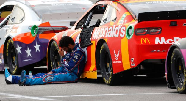 HAMPTON, GEORGIA - JUNE 07: Bubba Wallace, driver of the #43 McDonald's Chevrolet, sits on the grid after the NASCAR Cup Series Folds of Honor QuikTrip 500 at Atlanta Motor Speedway on June 07, 2020 in Hampton, Georgia. (Photo by Chris Graythen/Getty Images) | Getty Images