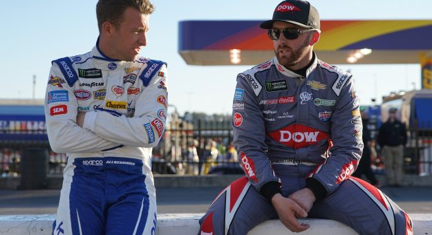 HAMPTON, GA - MARCH 03:  AJ Allmendinger, driver of the #47 Kroger Click List Chevrolet, and Austin Dillon, driver of the #3 DOW/Quikrete Chevrolet, speak on pit road during qualifying for the Monster Energy NASCAR Cup Series Folds of Honor QuickTrip 500 at Atlanta Motor Speedway on March 3, 2017 in Hampton, Georgia.  (Photo by Daniel Shirey/Getty Images) | Getty Images