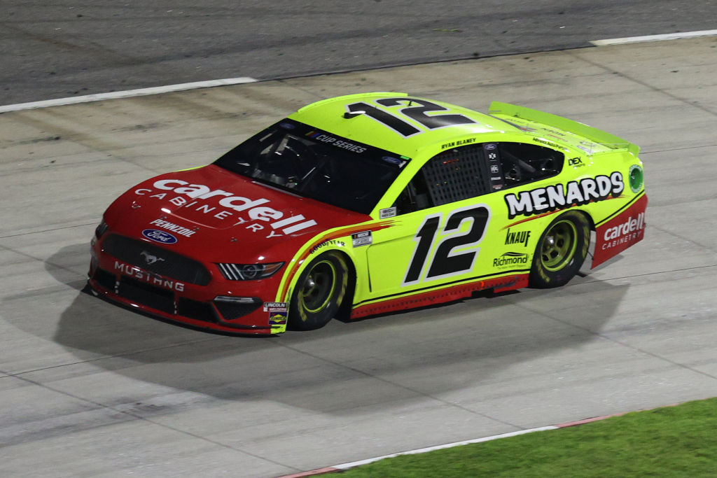 MARTINSVILLE, VIRGINIA - JUNE 10: Ryan Blaney, driver of the #12 Menards/Cardell Caninetry Ford, drives during the NASCAR Cup Series Blue-Emu Maximum Pain Relief 500 at Martinsville Speedway on June 10, 2020 in Martinsville, Virginia. (Photo by Rob Carr/Getty Images) | Getty Images