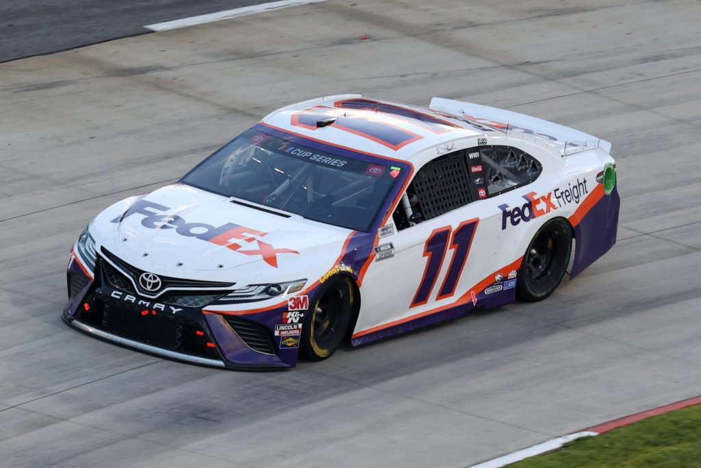 MARTINSVILLE, VIRGINIA - JUNE 10: Denny Hamlin, driver of the #11 FedEx Freight Toyota, drives during the NASCAR Cup Series Blue-Emu Maximum Pain Relief 500 at Martinsville Speedway on June 10, 2020 in Martinsville, Virginia. (Photo by Rob Carr/Getty Images) | Getty Images