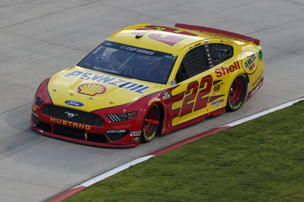 MARTINSVILLE, VIRGINIA - JUNE 10: Joey Logano, driver of the #22 Shell Pennzoil Ford, drives during the NASCAR Cup Series Blue-Emu Maximum Pain Relief 500 at Martinsville Speedway on June 10, 2020 in Martinsville, Virginia. (Photo by Rob Carr/Getty Images) | Getty Images