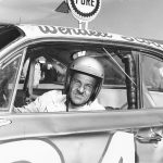 Wendell Scott poses for a portrait in his car as he became the first African-American driver to win in the NASCAR Cup division with a victory in 1963 at Jacksonville Speedway Park in Jacksonville, Florida. Scott was NASCAR's first black competitor, starting in the sportsman class in 1953.  (Photo by ISC Archives/CQ-Roll Call Group via Getty Images)