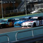 HOMESTEAD, FLORIDA - JUNE 13: Harrison Burton, driver of the #20 DEX Imaging Toyota, races Austin Cindric, driver of the #22 PPG Ford, and Noah Gragson, driver of the #9 PUBG MOBILE Chevrolet, during the NASCAR Xfinity Series Hooters 250 at Homestead-Miami Speedway on June 13, 2020 in Homestead, Florida. (Photo by Chris Graythen/Getty Images) | Getty Images