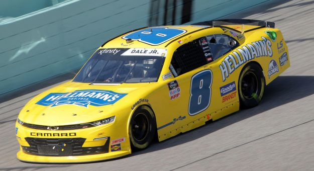 HOMESTEAD, FLORIDA - JUNE 13: Dale Earnhardt Jr., driver of the #8 Hellmann's Chevrolet, races during the NASCAR Xfinity Series Hooters 250 at Homestead-Miami Speedway on June 13, 2020 in Homestead, Florida. (Photo by Chris Graythen/Getty Images) | Getty Images