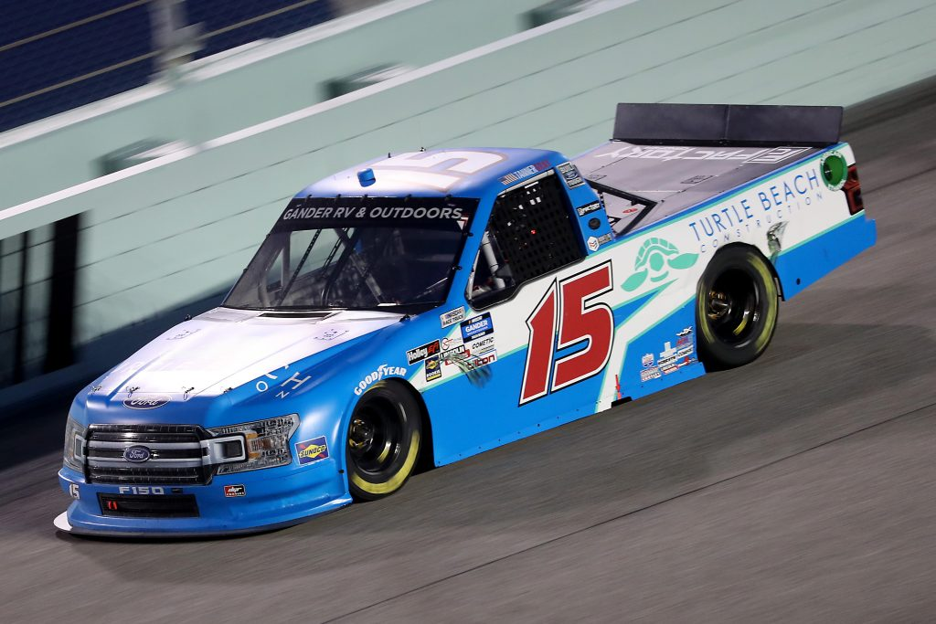 HOMESTEAD, FLORIDA - JUNE 13: Tanner Gray, driver of the #15 Turtle Beach Construction Ford, races during the NASCAR Gander RV & Outdoors Truck Series Baptist Health 200 at Homestead-Miami Speedway on June 13, 2020 in Homestead, Florida. (Photo by Chris Graythen/Getty Images) | Getty Images