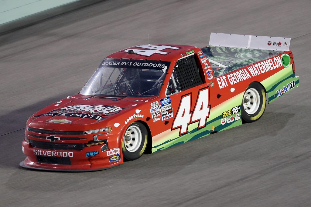 HOMESTEAD, FLORIDA - JUNE 13: Ross Chastain, driver of the #44 Florida Watermelon Association Chevrolet, races during the NASCAR Gander RV & Outdoors Truck Series Baptist Health 200 at Homestead-Miami Speedway on June 13, 2020 in Homestead, Florida. (Photo by Chris Graythen/Getty Images) | Getty Images