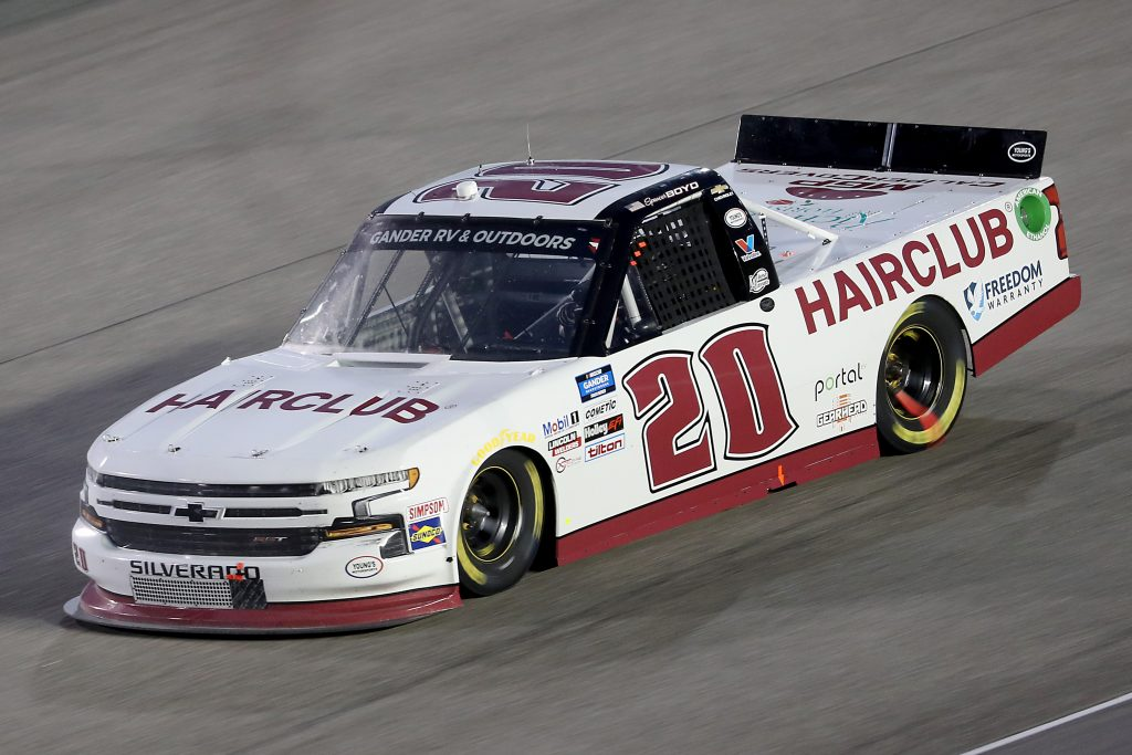 HOMESTEAD, FLORIDA - JUNE 13: Spencer Boyd, driver of the #20 Hairclub Chevrolet, races during the NASCAR Gander RV & Outdoors Truck Series Baptist Health 200 at Homestead-Miami Speedway on June 13, 2020 in Homestead, Florida. (Photo by Chris Graythen/Getty Images)   Getty Images