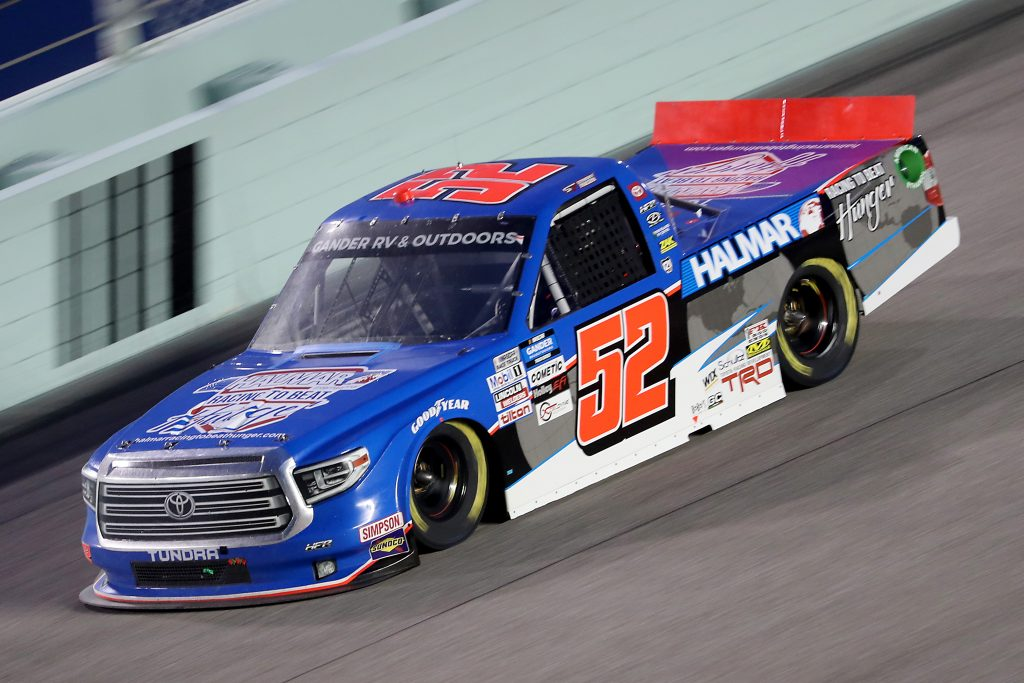 HOMESTEAD, FLORIDA - JUNE 13: Stewart Friesen, driver of the #52 Halmar Racing To Beat Hunger Toyota, races during the NASCAR Gander RV & Outdoors Truck Series Baptist Health 200 at Homestead-Miami Speedway on June 13, 2020 in Homestead, Florida. (Photo by Chris Graythen/Getty Images) | Getty Images