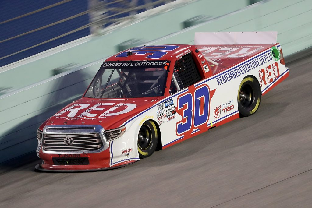 HOMESTEAD, FLORIDA - JUNE 13: Brennan Poole, driver of the #30 RememberEveryoneDeployed.org Toyota, races during the NASCAR Gander RV & Outdoors Truck Series Baptist Health 200 at Homestead-Miami Speedway on June 13, 2020 in Homestead, Florida. (Photo by Chris Graythen/Getty Images) | Getty Images