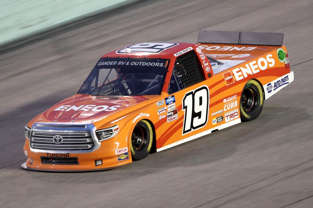 HOMESTEAD, FLORIDA - JUNE 13: Derek Kraus, driver of the #19 ENEOS/NAPA FILTERS Toyota, races during the NASCAR Gander RV & Outdoors Truck Series Baptist Health 200 at Homestead-Miami Speedway on June 13, 2020 in Homestead, Florida. (Photo by Chris Graythen/Getty Images) | Getty Images