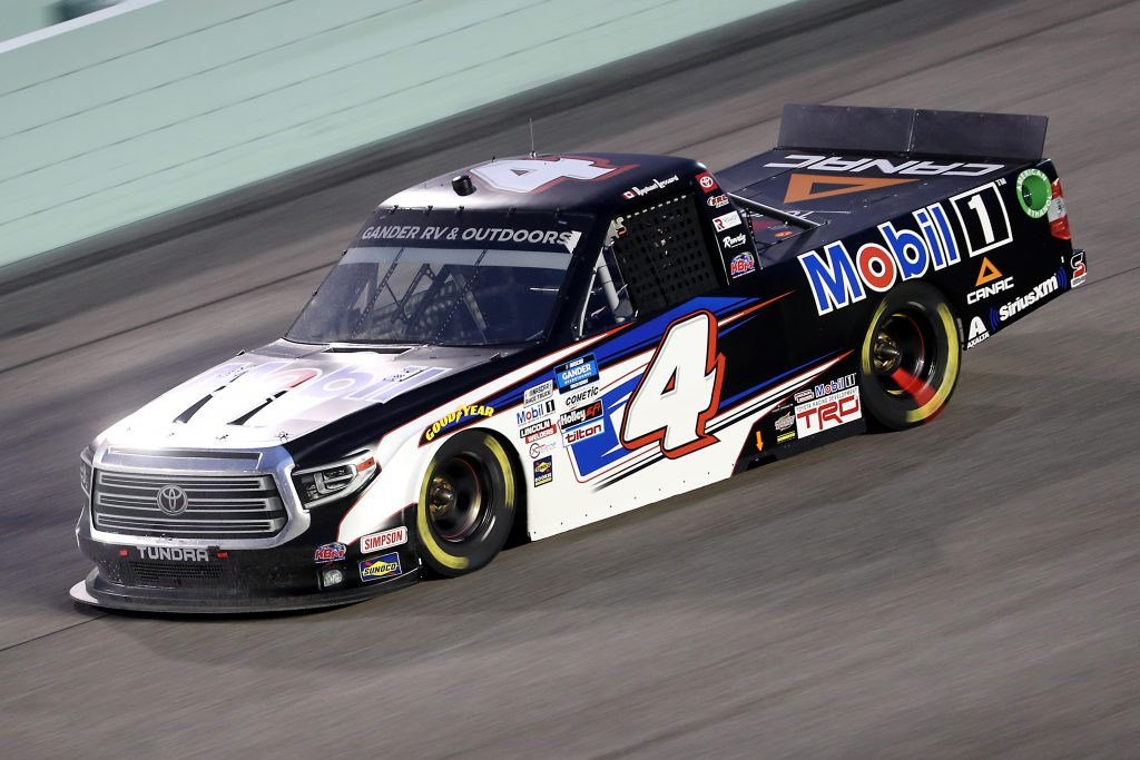 HOMESTEAD, FLORIDA - JUNE 13: Raphael Lessard, driver of the #4 Mobil 1 Toyota, races during the NASCAR Gander RV & Outdoors Truck Series Baptist Health 200 at Homestead-Miami Speedway on June 13, 2020 in Homestead, Florida. (Photo by Chris Graythen/Getty Images) | Getty Images