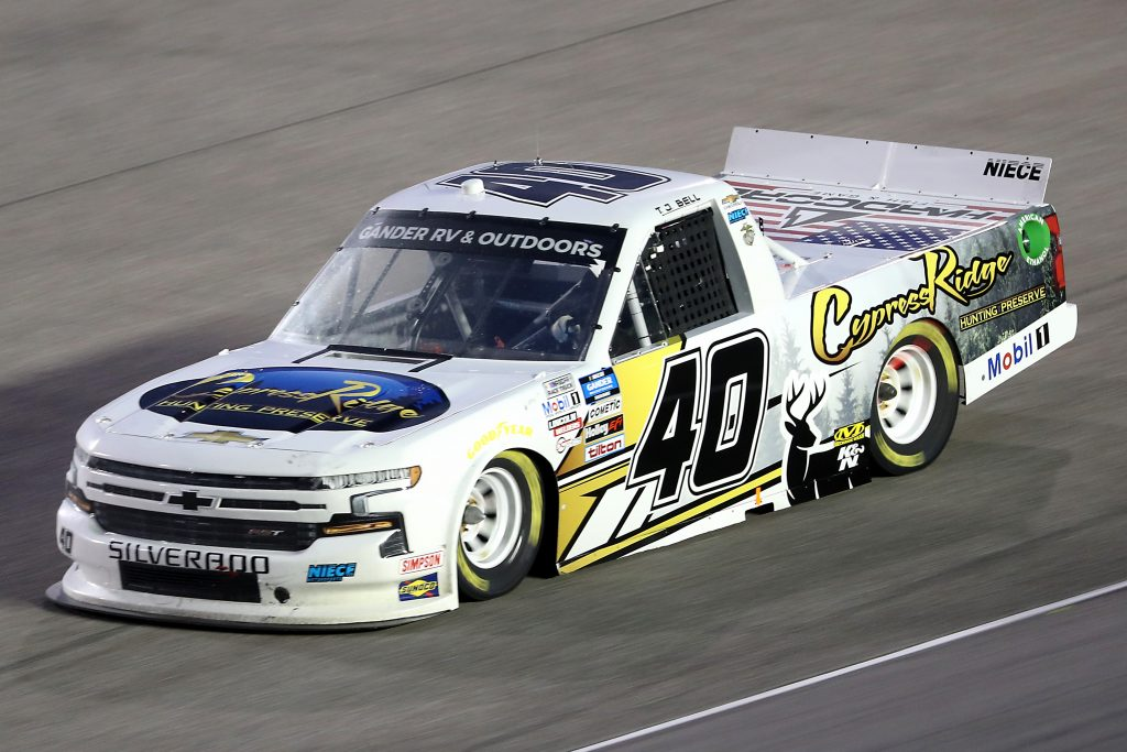 HOMESTEAD, FLORIDA - JUNE 13: TJ Bell, driver of the #40 Cypress Ridge Hunting Preserve Chevrolet, races during the NASCAR Gander RV & Outdoors Truck Series Baptist Health 200 at Homestead-Miami Speedway on June 13, 2020 in Homestead, Florida. (Photo by Chris Graythen/Getty Images) | Getty Images
