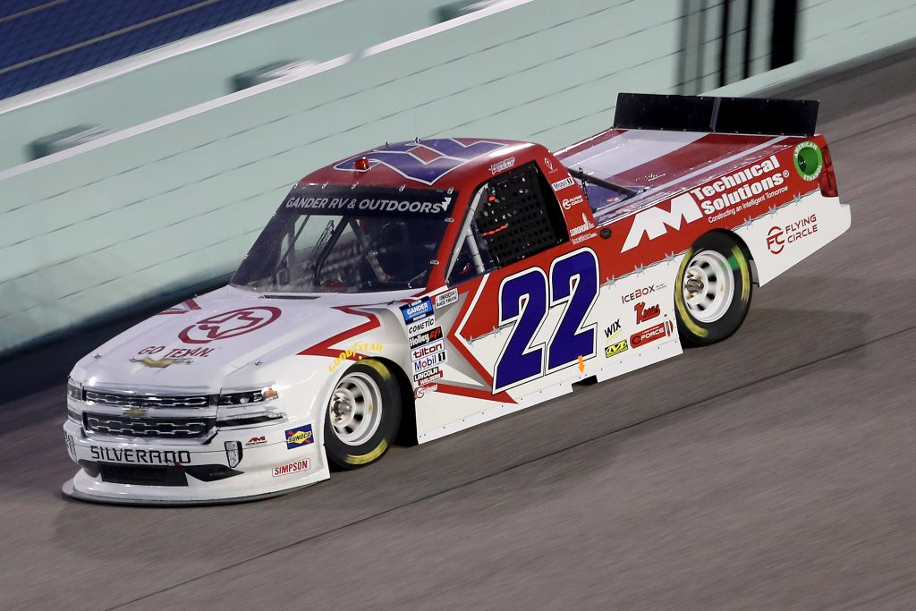 HOMESTEAD, FLORIDA - JUNE 13: Austin Wayne Self, driver of the #22 GO TEXAN/AM Technical Solutions Chevrolet, races during the NASCAR Gander RV & Outdoors Truck Series Baptist Health 200 at Homestead-Miami Speedway on June 13, 2020 in Homestead, Florida. (Photo by Chris Graythen/Getty Images) | Getty Images