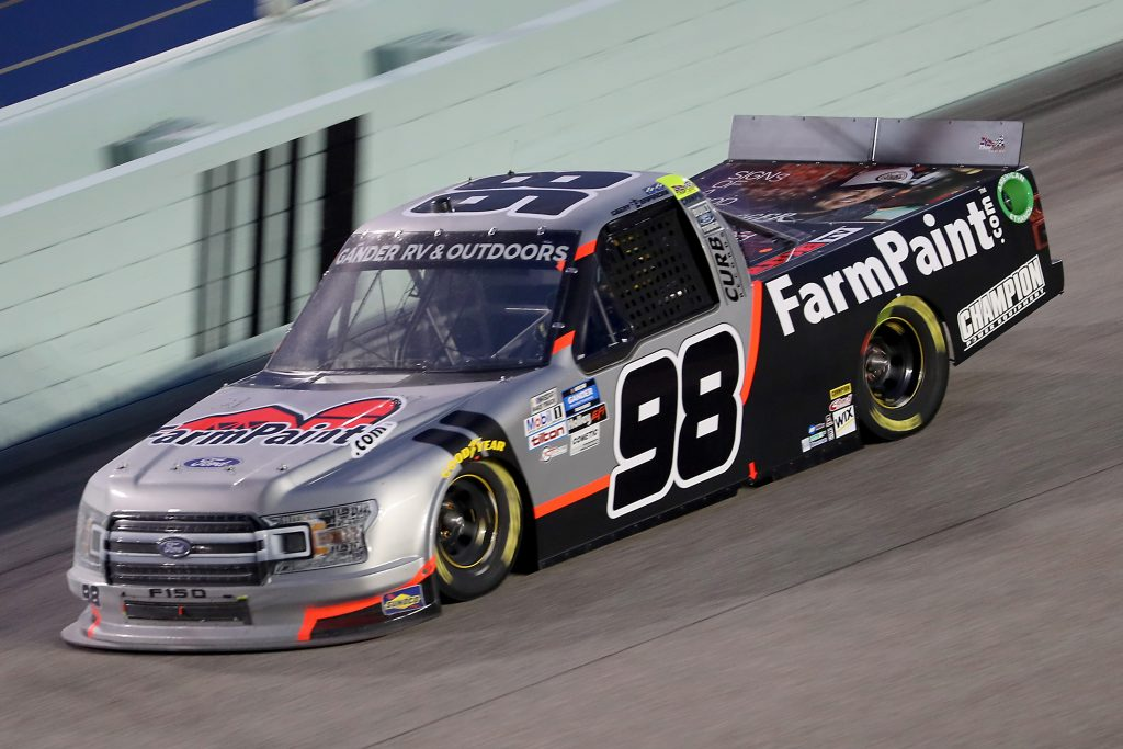 HOMESTEAD, FLORIDA - JUNE 13: Grant Enfinger, driver of the #98 Farm Paint/Curb Ford, races during the NASCAR Gander RV & Outdoors Truck Series Baptist Health 200 at Homestead-Miami Speedway on June 13, 2020 in Homestead, Florida. (Photo by Chris Graythen/Getty Images) | Getty Images