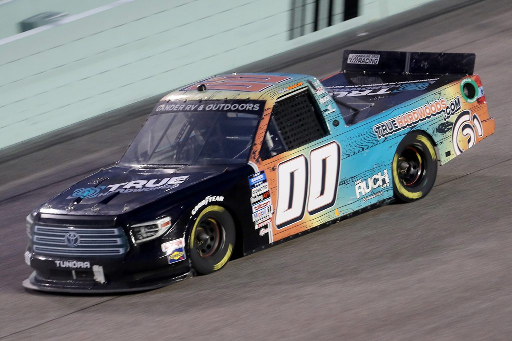 HOMESTEAD, FLORIDA - JUNE 13: Angela Ruch, driver of the #00 TrueHardwoods.com Toyota, races during the NASCAR Gander RV & Outdoors Truck Series Baptist Health 200 at Homestead-Miami Speedway on June 13, 2020 in Homestead, Florida. (Photo by Chris Graythen/Getty Images) | Getty Images