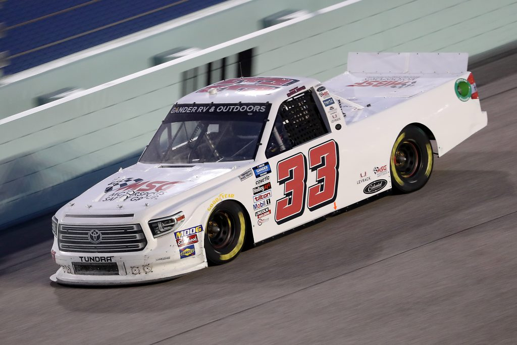 HOMESTEAD, FLORIDA - JUNE 13: Gray Gaulding, driver of the #33 Toyota, races during the NASCAR Gander RV & Outdoors Truck Series Baptist Health 200 at Homestead-Miami Speedway on June 13, 2020 in Homestead, Florida. (Photo by Chris Graythen/Getty Images) | Getty Images