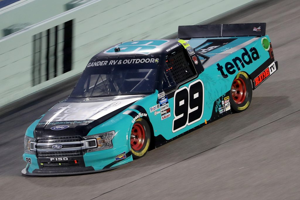 HOMESTEAD, FLORIDA - JUNE 13: Ben Rhodes, driver of the #99 Tenda Pet Care Ford, races during the NASCAR Gander RV & Outdoors Truck Series Baptist Health 200 at Homestead-Miami Speedway on June 13, 2020 in Homestead, Florida. (Photo by Chris Graythen/Getty Images) | Getty Images